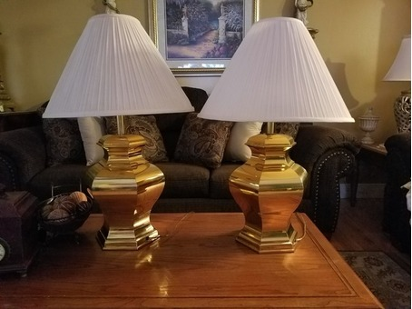 Pair Large Brass Lamps